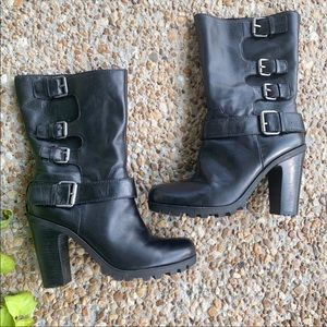 Nine West Black Leather Silver Buckle Heeled Boots